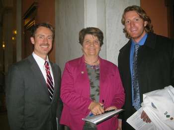 Jason Dapore DO Sen. Peggy Lehner and Simon Faser OMSII following hearings on HB 143