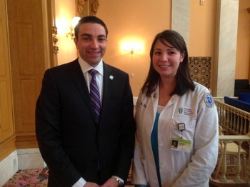 State Sen Lou Gentile with Kimbra Joyce OMS IV during a health policy rotation in November 2013